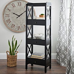 Large Black Crossbar Wooden Shelf