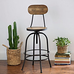 Industrial Elm Wood Bar Stool