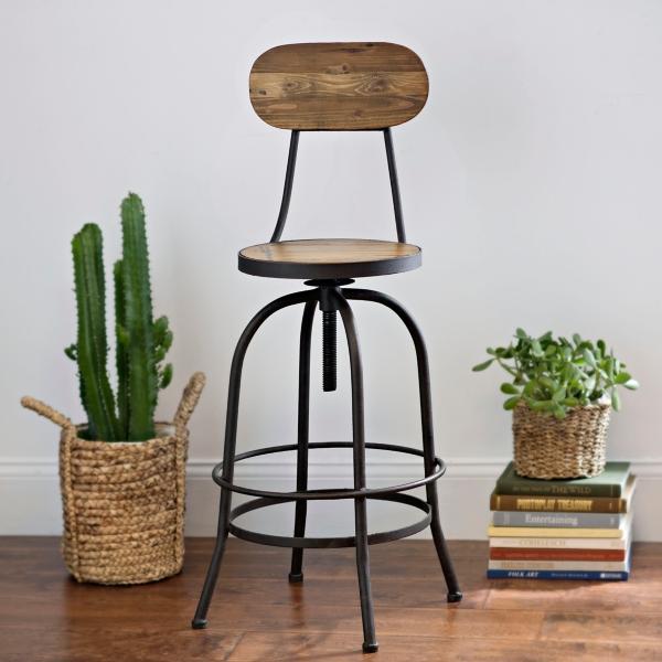 industrial elm wood bar stool