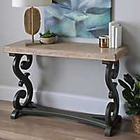 Natural Madison Scroll Console Table