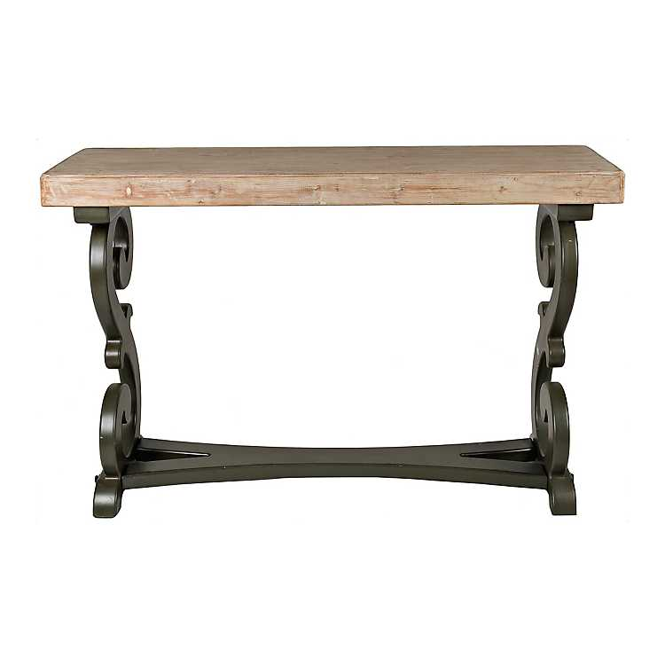 Natural madison scroll console table kirklands for Sofa table kirklands