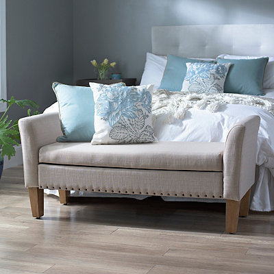 Emily Tan Linen Storage Bench