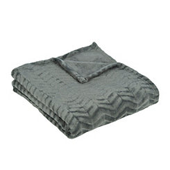 Gray Plush Herringbone Throw Blanket