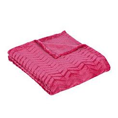 Pink Plush Herringbone Throw Blanket
