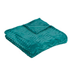 Turquoise Plush Herringbone Throw Blanket