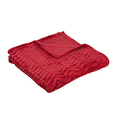 Red Plush Herringbone Throw Blanket