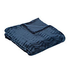 Navy Plush Herringbone Throw Blanket