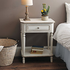 Christina Distressed White Side Table