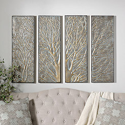 Autumn Tree Metal Wall Plaques, Set of 4