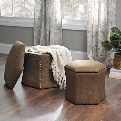 Brown Hexagon Storage Ottomans, Set of 2