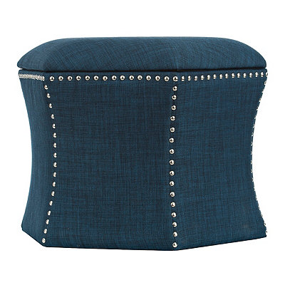 Blue Hexagon Storage Ottomans, Set of 2