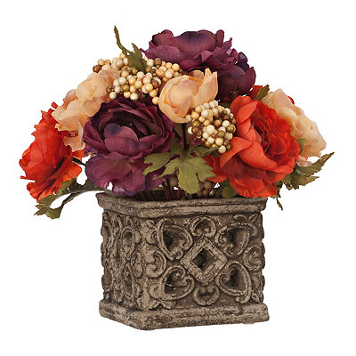 Fall Ranunculus Arrangement in Stone Planter