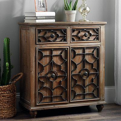 Gentry Quatrefoil Trellis Wood Cabinet