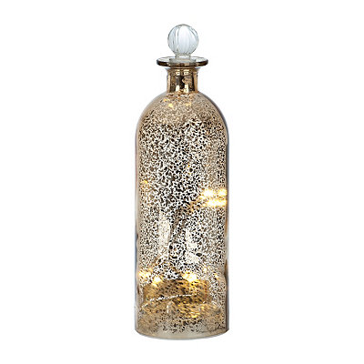 Gold Sparklin Lights Mercury Glass Bottle