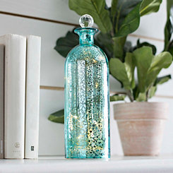 Turquoise Sparklin Lights Mercury Glass Bottle