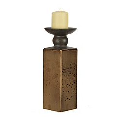 Metallic Bronze Ceramic Candlestick, 13.5 in.