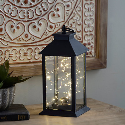 Sparklin' Lights Pre-Lit Black Tabletop Lantern