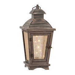 Pre-Lit Starry Lights Wooden Lantern