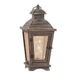 Pre-Lit Starry Lights Wooden Lantern