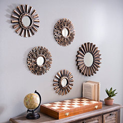 Bronze and Gold Starburst Mirrors, Set of 5