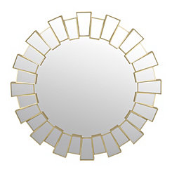 Champagne Round Reflective Frame Mirror