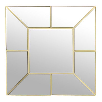 Gold Geometric Square Mirror