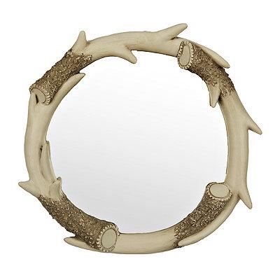 Round Deer Antler Mirror