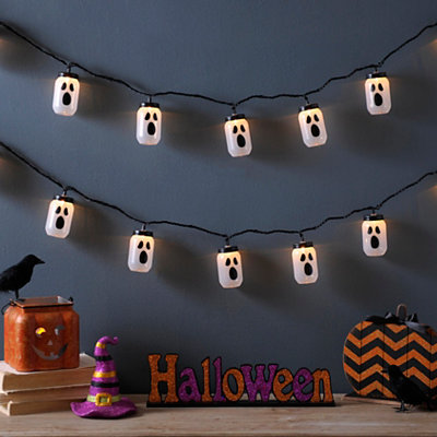 Black Spooky Ghost String Lights