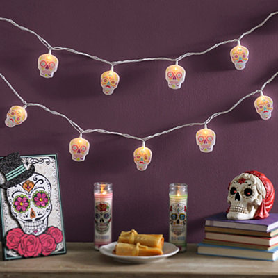 White Sugar Skull String Lights