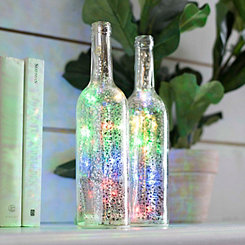 Pre-Lit Multicolor Mercury Glass Bottle