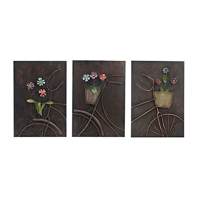 Bronze Bicycle Metal Plaques, Set of 3