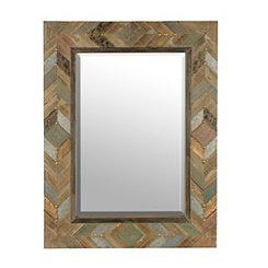 Chevron Plank Wood Mirror, 33.5x45 in.