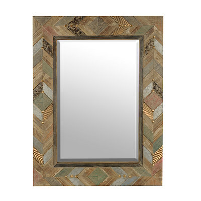 Chevron Plank Wood Mirror, 33.5x45 in.