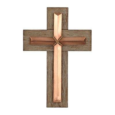 Wooden Layered Copper Cross Wall Plaque