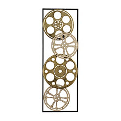 Distressed Gold and Silver Movie Reel Plaque