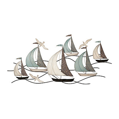 Metal Sailboats on Water Wall Plaque