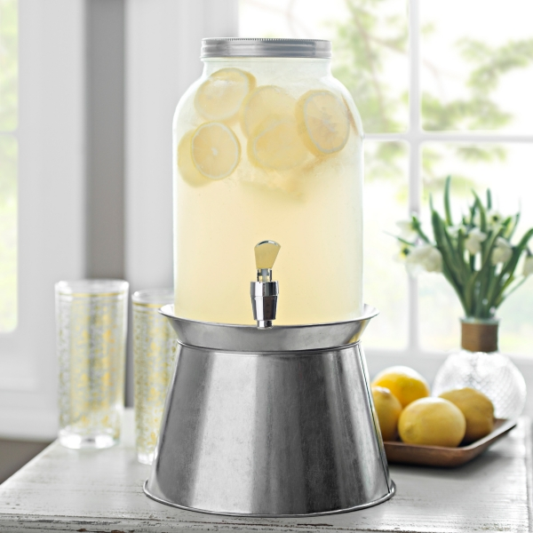 Glass Beverage Dispenser with Galvanized Stand