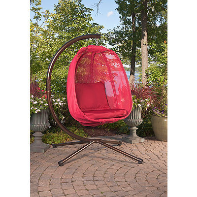 Red Mesh Hanging Egg Chair with Cushions