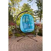 Blue Mesh Hanging Egg Chair with Cushions