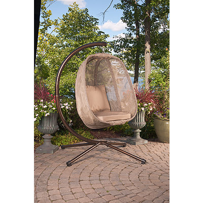 Bark Brown Mesh Hanging Egg Chair with Cushions