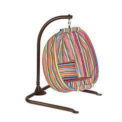 Striped Junior Hanging Egg Chair With Cushions