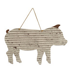 Galvanized Metal Pig Hanging Plaque