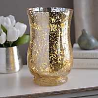 Pre-Lit Gold Mercury Glass Hurricane