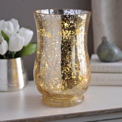 Pre-Lit Gold Mercury Glass Hurricane