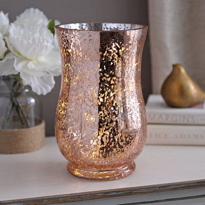 Pre-Lit Rose Gold Mercury Glass Hurricane