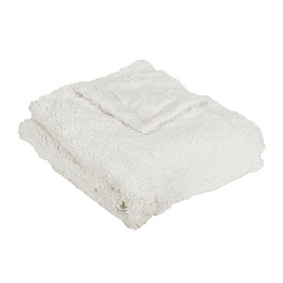 Cream Faux Fur Throw Blanket