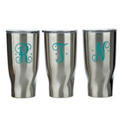 Turquoise Monogram Stainless Steel Tumblers