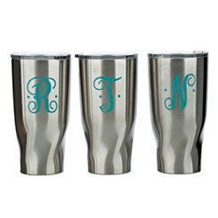 Turquoise Monogram Stainless Steel Tumblers