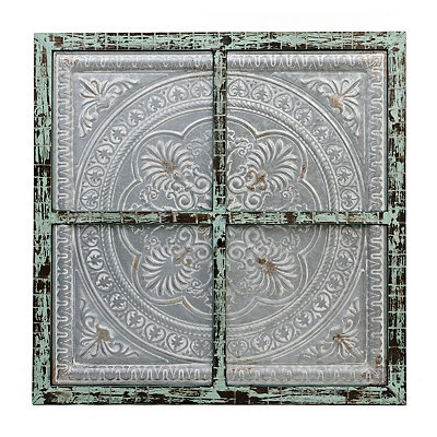 Distressed Embossed Medallion Wall Plaque
