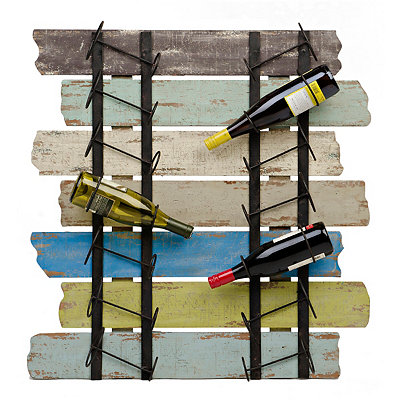 Distressed Slatted Wood Wine Holder